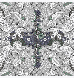 grey color outline decorative floral pattern vector image