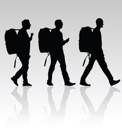 man set walking silhouette vector image vector image