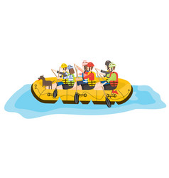 Rafting six people and dog in yellow boat vector