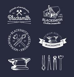 set of hand sketched blacksmith logos vector image vector image