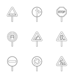 Sign warning icons set outline style vector