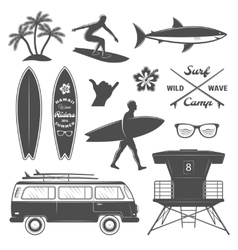 Surfing icon set vector