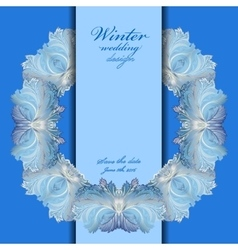 Wedding wreath frame design Winter frozen glass vector image vector image