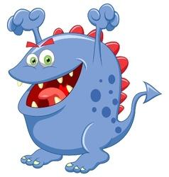 Cute blue monster cartoon vector image