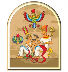 egyptian pharaoh and his wife vector image