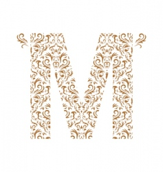 floral letter m ornament font vector image vector image