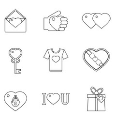 lineart love heart icons set vector image vector image