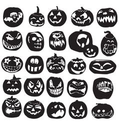 Silhouettes of halloween pumpkin vector