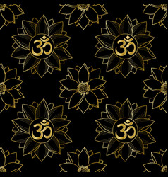 gold om and lotus seamless pattern vector image vector image