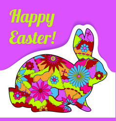 happy easter card with rabbit and bubble banner vector image