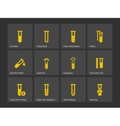 Laboratory test tube icons vector image vector image