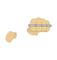 Man fists holding brass-knuckle vector image vector image