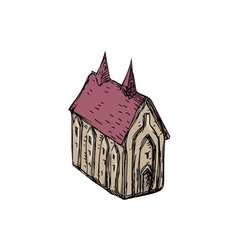 Medieval Church Drawing vector image vector image