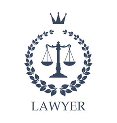 scales of justice emblem for law firm design vector image vector image