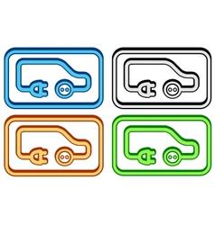 set electric car icon vector image vector image