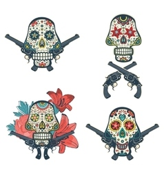 Set of hand drawn skulls with flowers and guns vector