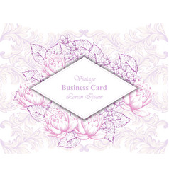 vintage business card with floral frame and vector image vector image