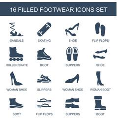 16 footwear icons vector