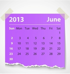 2013 calendar june colorful torn paper vector image