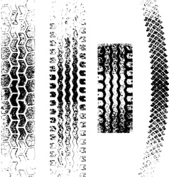 A collection 4 grunge tire tracks negative and vector