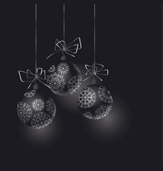 Abstract black christmas tree baubles header vector
