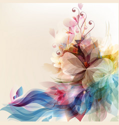 Abstract floral background with colorful and shiny vector