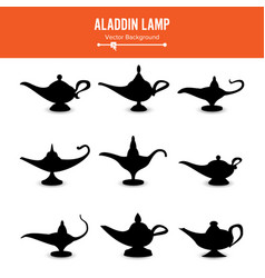 aladdin lamp set icons aladdins lamp signs vector image