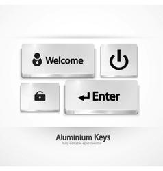 Aluminium buttons keys vector