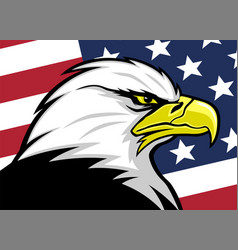 American eagle with usa flag background vector