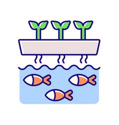 Aquaponics rgb color icon vector