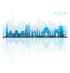 Architectural landmarks asia vector