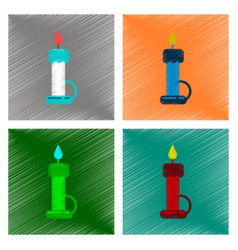 Assembly flat shading style icon wax candle vector