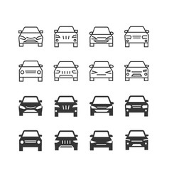 autos front view line and silhouette icons vector image