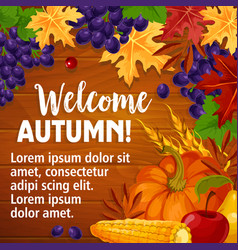 Autumn or welcome fall poster of foliage vector