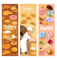 bakery shop bread and pastry cakes baker work vector image