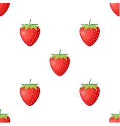 berries fruit strawberry with leaves seamless vector image
