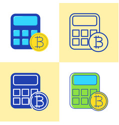 bitcoin calculator icon set in flat and line style vector image