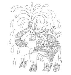 Black and white decorative elephant with vector