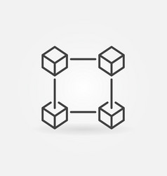 Block chain icon in thin line style crypto vector