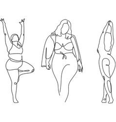 Body positive female figure line art vector