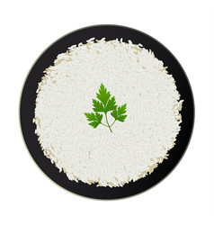 Bowl of white rice with parsley isolated on white vector