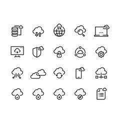 cloud computing line icons data storage vector image