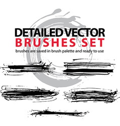 Collection ink hand drawn brushes scanned and vector