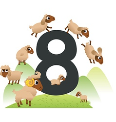 Collection number for kids farm animals - number 8 vector