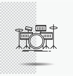 drum drums instrument kit musical line icon on vector image