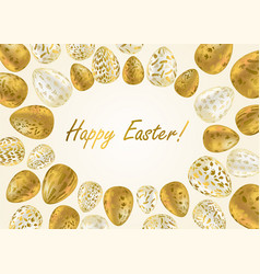 Easter egg greeting card with golden eggs vector