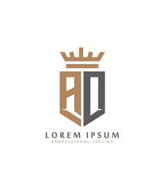 Elegant wordmark ad initial shield crown logo vector