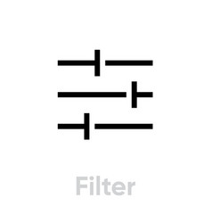 filter video tv icon editable line vector image