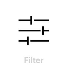 Filter video tv icon editable line vector