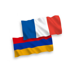 Flags france and armenia on a white background vector